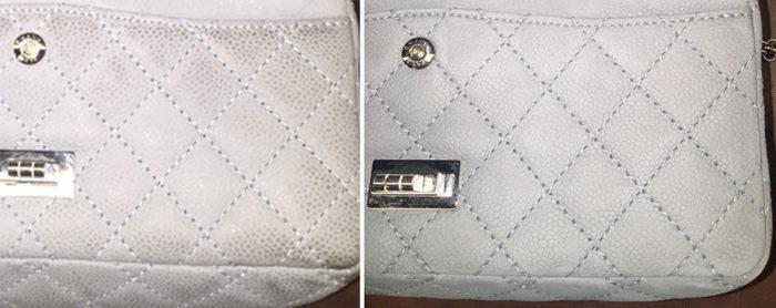 Удаление пятен с белой сумочки
