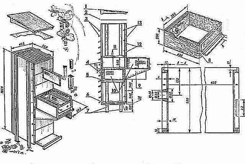 Сборочный чертеж кассетного улья типа «Берендей»