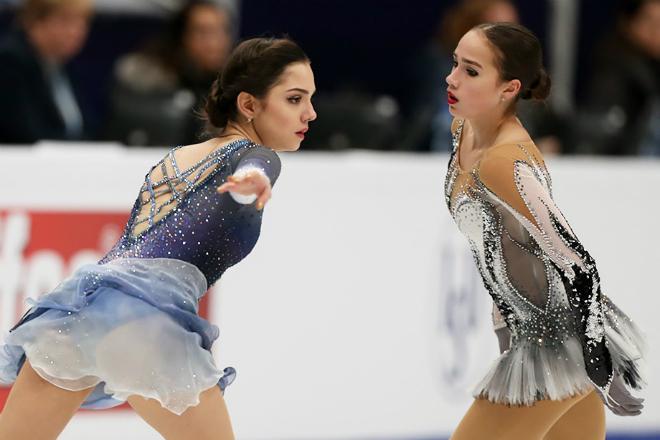 Евгения Медведева и Алина Загитова на Олимпиаде-2018
