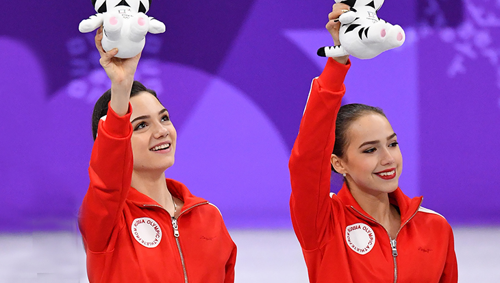 Алина Загитова и Евгения Медведева на Олимпиаде-2018
