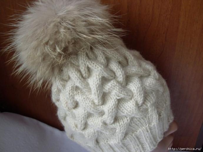Шапка косами, вязаная спицами: описание, схема, фото готовой работы 1