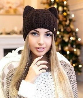 """Шапочка """"Кошка"""" Спицами 1"""