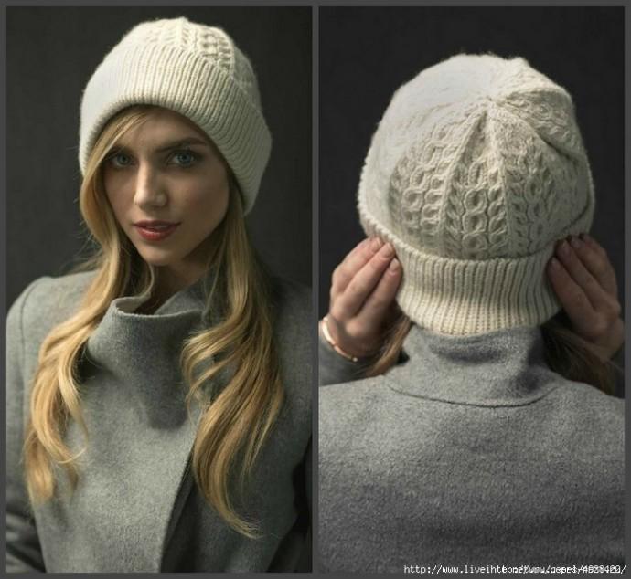 Стильная женская шапка спицами с отворотом WayWorn! 2