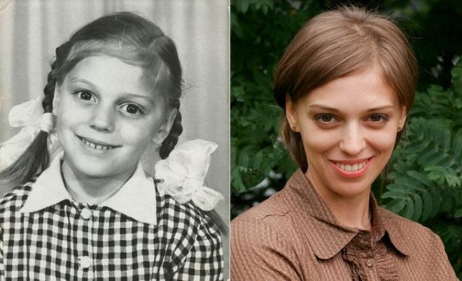 Нелли Уварова в детстве и сейчас