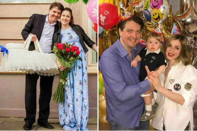 Денис Матросов с женой Ольгой Головиной и сыном