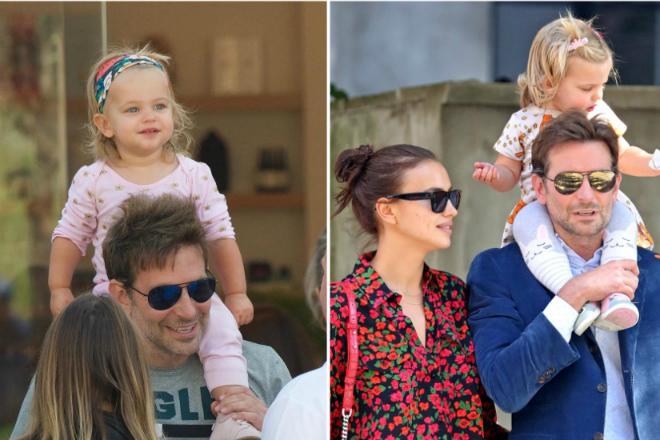 Брэдли Купер с женой и дочерью в 2018 году