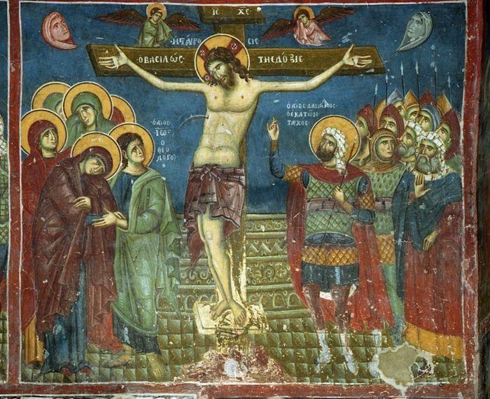 Великая Пятница. Распятие. Фреска церкви св.Николая в Прилепе, Македония. XII