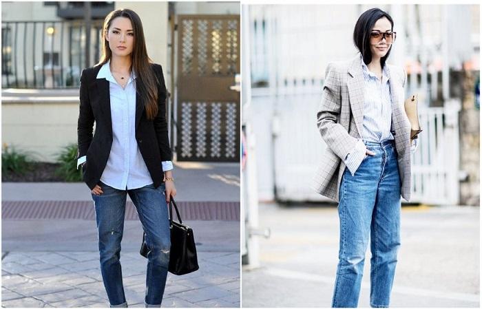 Джинсы в сочетании с пиджаком выглядят стильно и гармонично. / Фото: