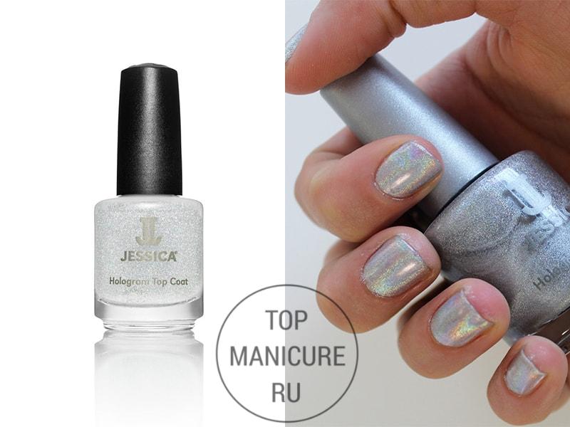 Голографический лак для ногтей jessica hologram top coat silver